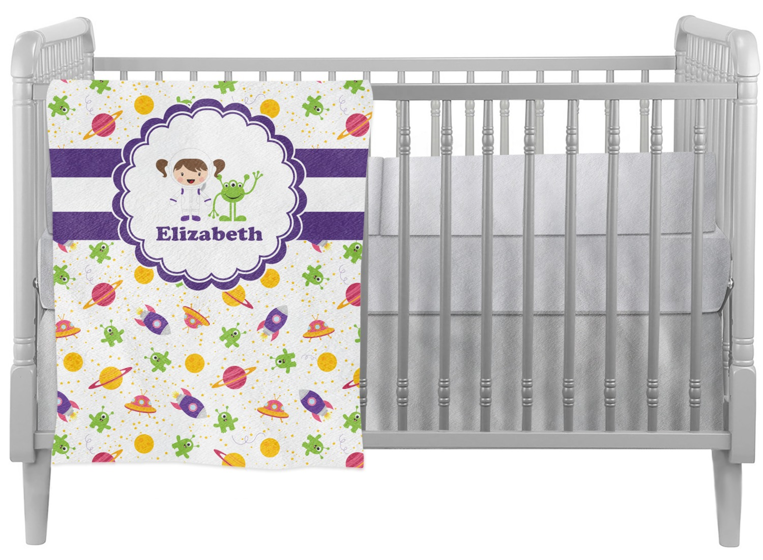 Girls Space Themed Crib Comforter / Quilt (Personalized