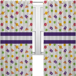 Girls Space Themed Curtains (2 Panels Per Set) (Personalized)