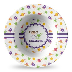 Girls Space Themed Plastic Bowl - Microwave Safe - Composite Polymer (Personalized)