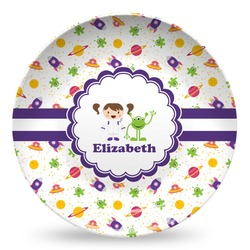 Girls Space Themed Microwave Safe Plastic Plate - Composite Polymer (Personalized)