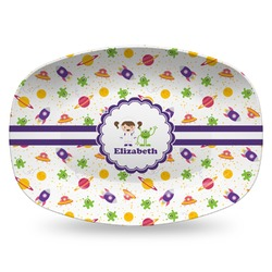Girls Space Themed Plastic Platter - Microwave & Oven Safe Composite Polymer (Personalized)