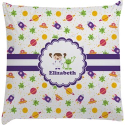 Girls Space Themed Decorative Pillow Case (Personalized)