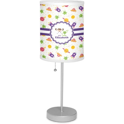 """Girls Space Themed 7"""" Drum Lamp with Shade (Personalized)"""