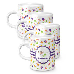 Girls Space Themed Espresso Mugs - Set of 4 (Personalized)