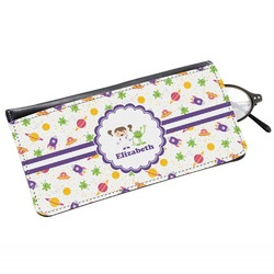 Girls Space Themed Genuine Leather Eyeglass Case (Personalized)