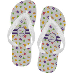 Girls Space Themed Flip Flops - XSmall (Personalized)