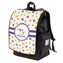 Girls Space Themed Backpack w/ Front Flap  (Personalized)
