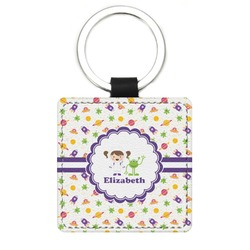 Girls Space Themed Genuine Leather Rectangular Keychain (Personalized)