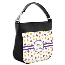 Girls Space Themed Hobo Purse w/ Genuine Leather Trim (Personalized)