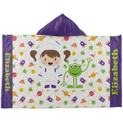 Girls Space Themed Kids Hooded Towel (Personalized)