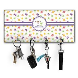 Girls Space Themed Key Hanger w/ 4 Hooks (Personalized)