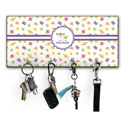 Girls Space Themed Key Hanger w/ 4 Hooks w/ Graphics and Text