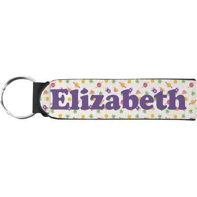 Girls Space Themed Neoprene Keychain Fob (Personalized)