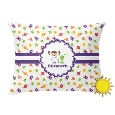 Girls Space Themed Outdoor Throw Pillow (Rectangular) (Personalized)