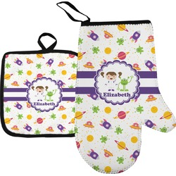 Girls Space Themed Oven Mitt & Pot Holder (Personalized)