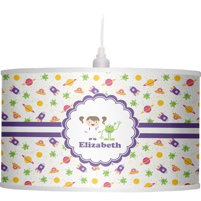 Girls Space Themed Drum Pendant Lamp (Personalized)