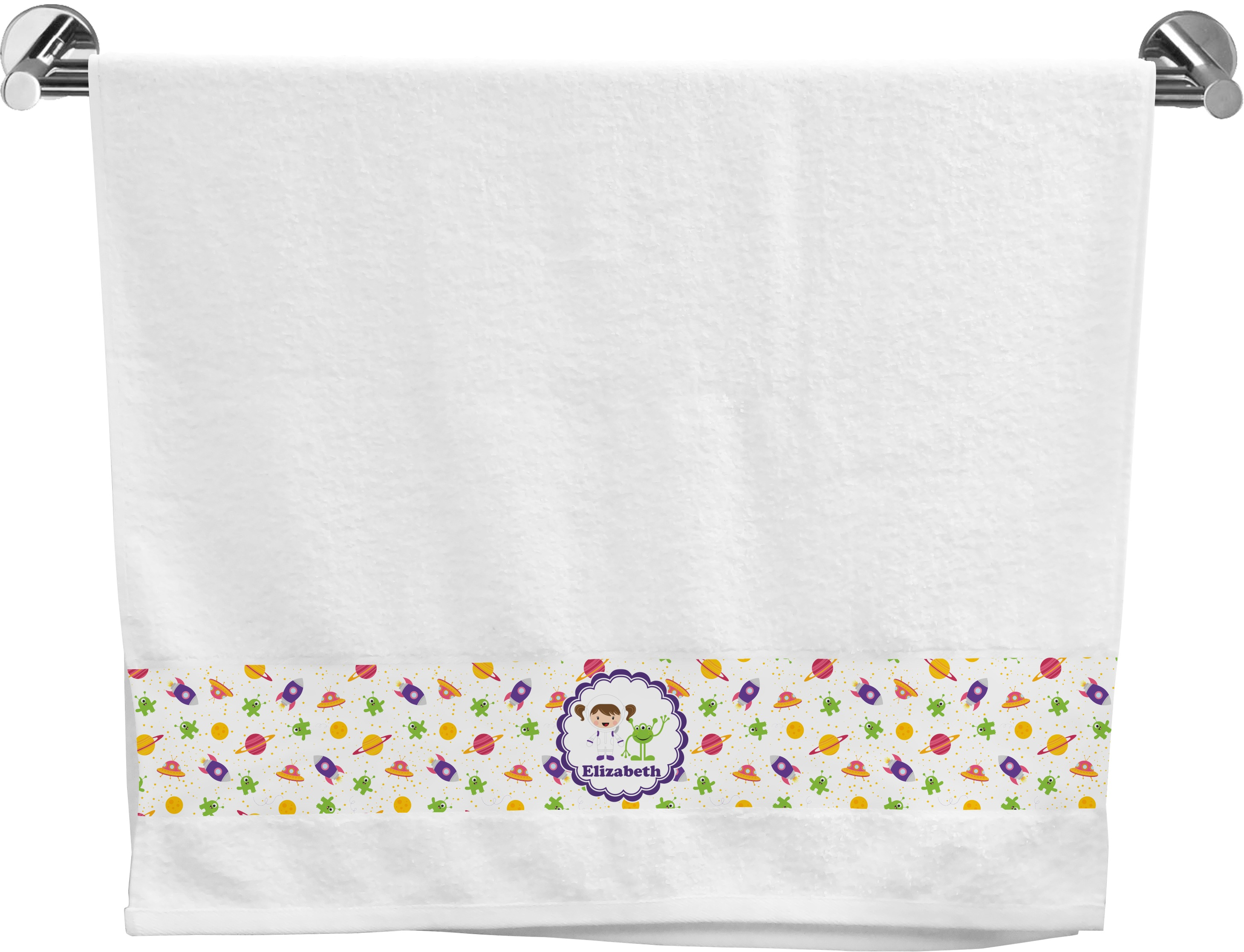 Girls space themed bath towel personalized youcustomizeit for Space themed bathroom