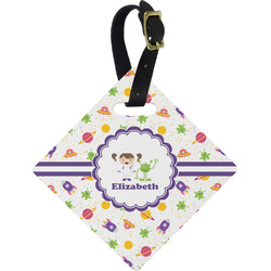 Girls Space Themed Diamond Luggage Tag (Personalized)