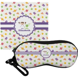 Girls Space Themed Eyeglass Case & Cloth (Personalized)