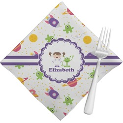 Girls Space Themed Napkins (Set of 4) (Personalized)
