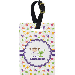 Girls Space Themed Rectangular Luggage Tag (Personalized)