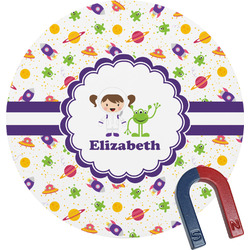 Girls Space Themed Round Magnet (Personalized)