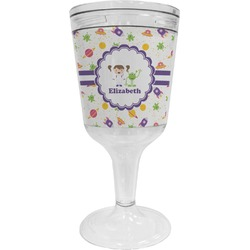 Girls Space Themed Wine Tumbler - 11 oz Plastic (Personalized)
