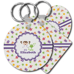 Girls Space Themed Plastic Keychains (Personalized)