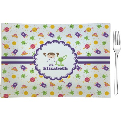 Girls Space Themed Rectangular Glass Appetizer / Dessert Plate - Single or Set (Personalized)
