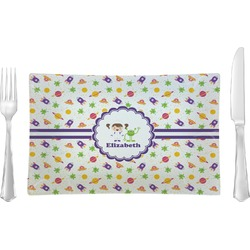 Girls Space Themed Glass Rectangular Lunch / Dinner Plate - Single or Set (Personalized)