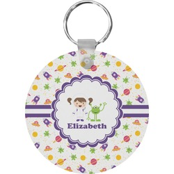 Girls Space Themed Round Keychain (Personalized)
