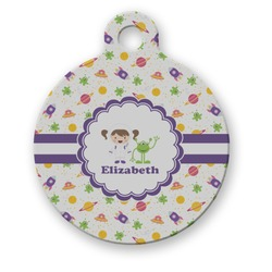 Girls Space Themed Round Pet Tag (Personalized)
