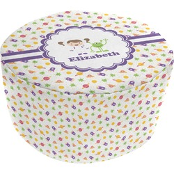 Girls Space Themed Round Pouf Ottoman (Personalized)