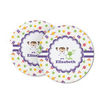 Girls Space Themed Sandstone Car Coasters (Personalized)