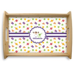 Girls Space Themed Natural Wooden Tray (Personalized)