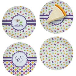 Girls Space Themed Set of Appetizer / Dessert Plates (Personalized)