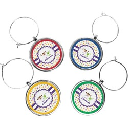 Girls Space Themed Wine Charms (Set of 4) (Personalized)