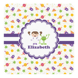 Girls Space Themed Square Decal (Personalized)