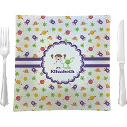 Girls Space Themed Glass Square Lunch / Dinner Plate 9.5