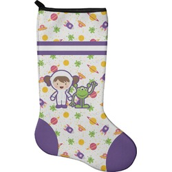 Girls Space Themed Holiday Stocking - Neoprene (Personalized)