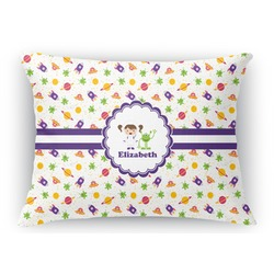 Girls Space Themed Rectangular Throw Pillow (Personalized)