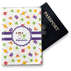 Girls Space Themed Vinyl Passport Holder (Personalized)