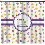 Girls Space Themed Shower Curtain (Personalized)