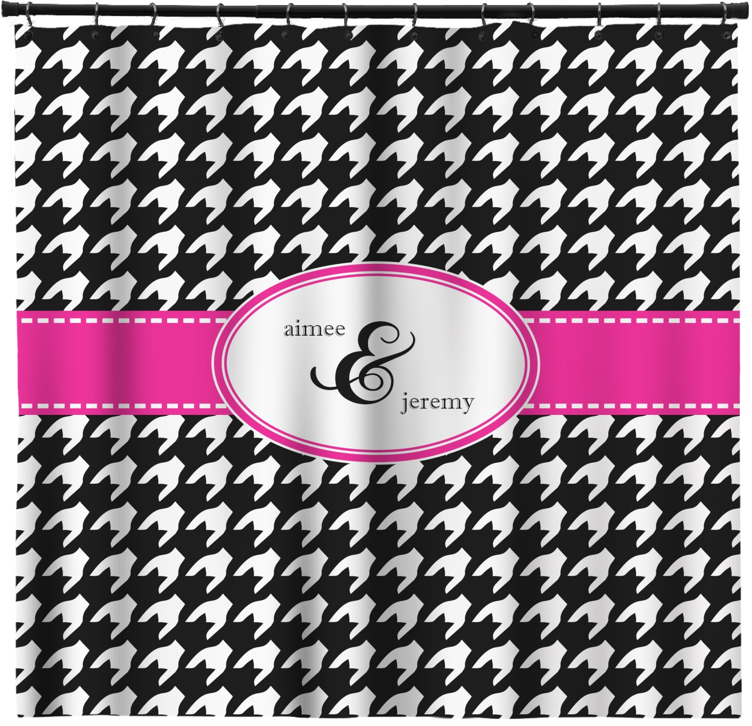 Houndstooth W Pink Accent Shower Curtain Personalized
