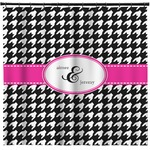 Houndstooth w/Pink Accent Shower Curtain (Personalized)