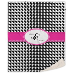 Houndstooth w/Pink Accent Sherpa Throw Blanket (Personalized)