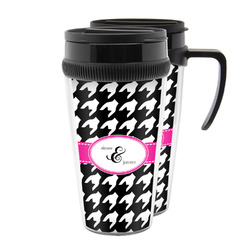 Houndstooth w/Pink Accent Acrylic Travel Mugs (Personalized)