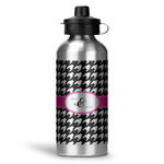Houndstooth w/Pink Accent Water Bottle - Aluminum - 20 oz (Personalized)
