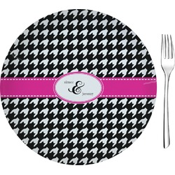 """Houndstooth w/Pink Accent Glass Appetizer / Dessert Plates 8"""" - Single or Set (Personalized)"""