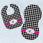 Houndstooth w/Pink Accent Baby Bib & Burp Set w/ Couple's Names